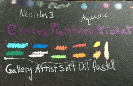 Testing water-soluble oil pastels on black Kraft-tex.