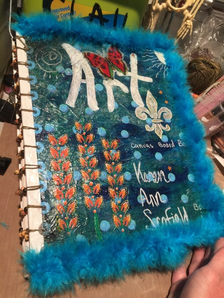 Handmade Blank Canvas Board Art Journal, by Karen. A. Scofield. Bound with a beaded coptic stitch.
