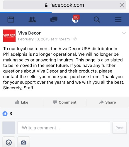 Viva Decor Closed Their USA Office in 2015. European Offices remain open. 2016.
